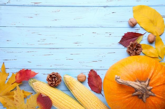 Orange kürbis mit blättern und gemüse auf blau