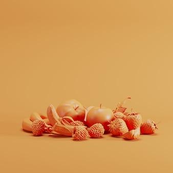 Orange mixfruit monoton auf orange pastellhintergrund. minimales fruchtideenkonzept.