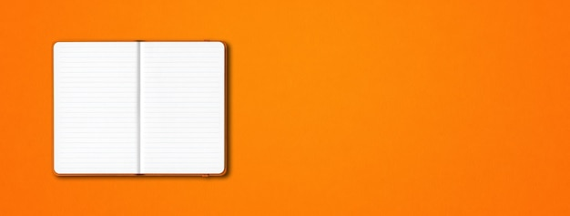 Orange offenes liniertes notizbuchmodell isoliert auf orange