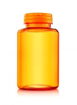 Orange plastikflasche für das ergänzungs- oder vitaminprodukt lokalisiert