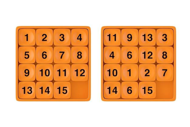 Orange pocket sliding fifteen rebus puzzle-spiel auf weißem hintergrund. 3d-rendering