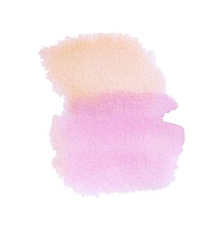 Orange-rosa handbemalung der aquarellbeschaffenheit lokalisiert auf weißem hintergrund