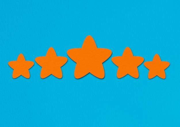 Orange sterne bewertung auf blau