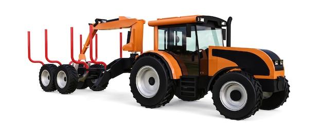 Orange traktor mit einem anhänger zum anmelden auf einem weißen