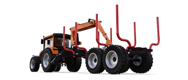 Orange traktor mit einem anhänger zum aufzeichnen auf einem weißen hintergrund. 3d-rendering.