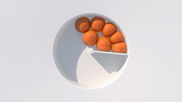 Orange weiche kugeln. weißer hintergrund, hartes licht. abstrakte illustration, 3d rendern.