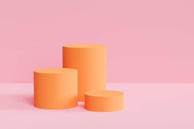 Orangefarbene podeste oder podeste für produkte oder werbung auf pastellrosa hintergrund
