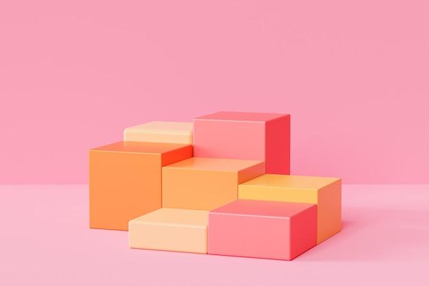 Orangefarbene quadratische podeste oder podeste für produkte oder werbung auf pastellrosa hintergrund
