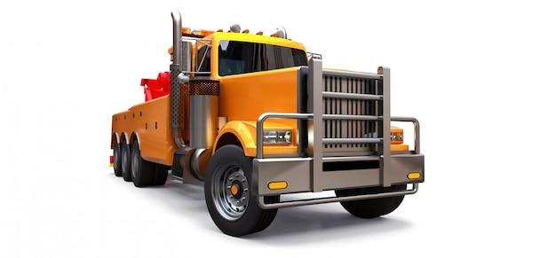 Orangefarbener abschleppwagen für den transport anderer großer lkws oder verschiedener schwerer maschinen. 3d-rendering.