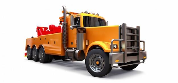 Orangefarbener abschleppwagen für den transport anderer großer lkws oder verschiedener schwerer maschinen