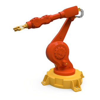 Orangefarbener roboterarm für jede arbeit in einer fabrik oder produktion. mechatronische ausrüstung für komplexe aufgaben. 3d-illustration.