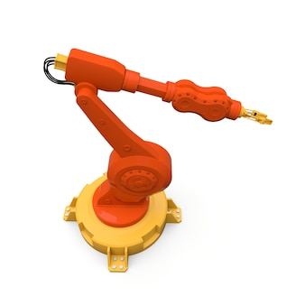 Orangefarbener roboterarm für jede arbeit in einer fabrik oder produktion