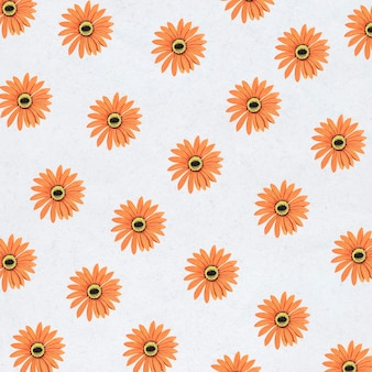 Orangefarbenes banner oder tapete mit gerbera-muster