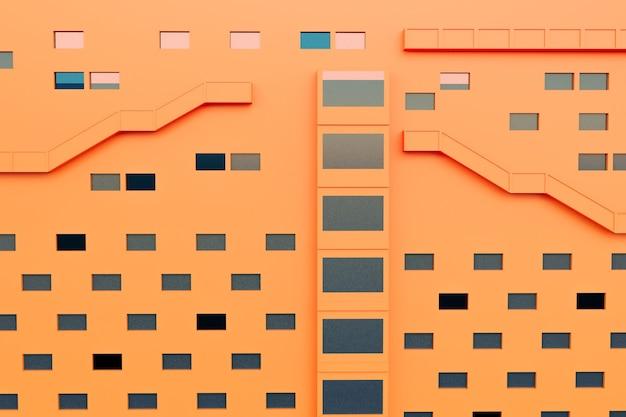 Orangefarbenes gebäude mit fenster und außentreppe, 3d-illustrationen rendering