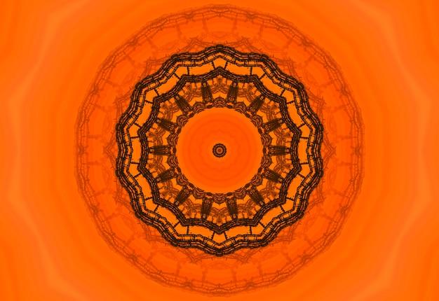 Orangefarbenes polygonales kaleidoskopmuster, das aus dreiecken besteht. geometrischer hintergrund im origami-stil mit farbverlauf. dreieckiges design für ihr unternehmen.