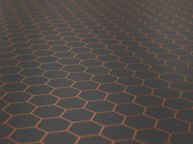 Orangefarbenes sechseck auf dunklem hintergrund. 3d-darstellung