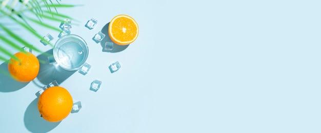 Orangen, ein glas wasser, eiswürfel und ein blatt einer palme