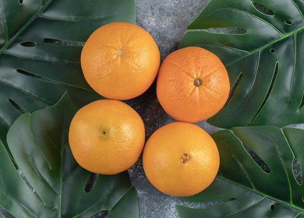 Orangen und blätter auf marmortisch.