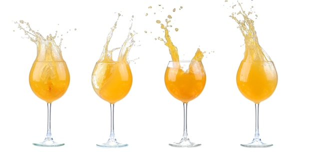 Orangencocktail mit spritzern. vektorillustration