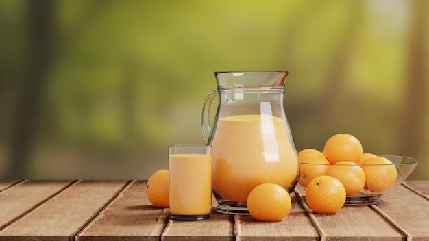 Orangensaft mit glas und krug auf bretterboden-natur