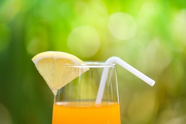 Orangensaft mit orange frucht des stückes auf glas mit grünem sommer der natur