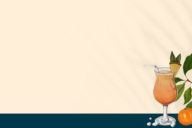 Orangensafthintergrund in einer gezeichneten illustration der glasmischmedien hand