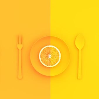 Orangenscheiben auf teller mit löffel und gabel