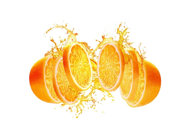 Orangenscheibenspritzer auf weißem hintergrund