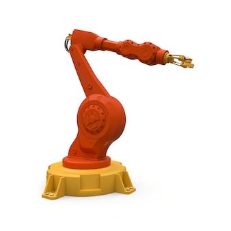 Oranger roboterarm für jede arbeit in einer fabrik oder produktion. mechatronische ausrüstung für komplexe aufgaben. abbildung 3d.