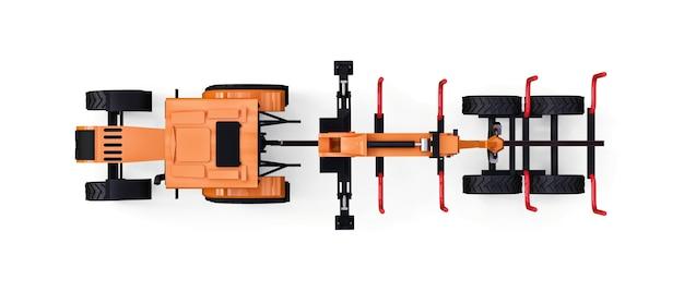Oranger traktor mit anhänger für die protokollierung auf weißem hintergrund. 3d-rendering.