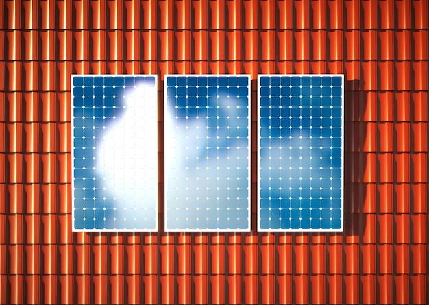 Oranges dach mit photovoltaik. 3d-rendering.