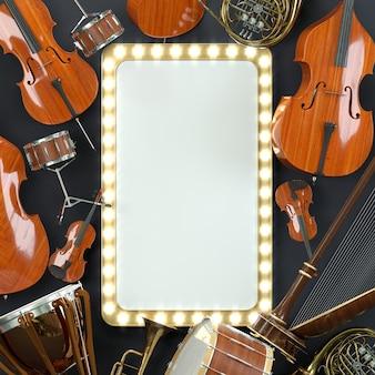 Orchestermusikinstrumente weiß. hochwertiges 3d-rendering