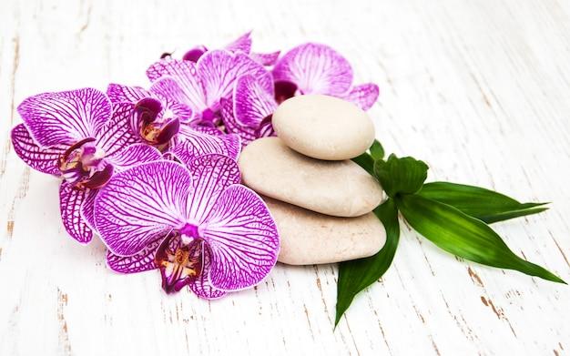 Orchideen und massagestein