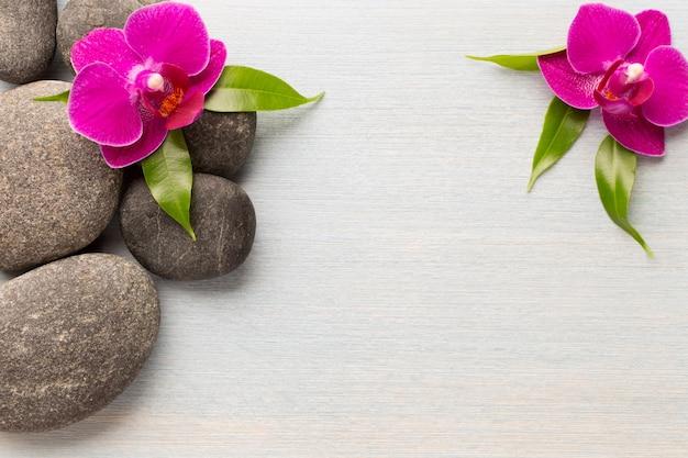Orchideenblume auf hölzernem hintergrund mit spa-steinen.