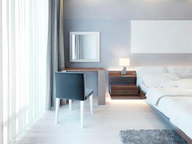 Ordentlicher schminktisch mit einem spiegel in einem weißen rahmen in einem modernen schlafzimmer. schminktisch in braunen und schwarzen farben in einem weißen schlafzimmer. 3d-rendering.