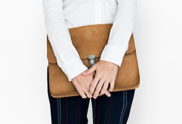Ordner-taschen-konzept der formellen kleidung brown