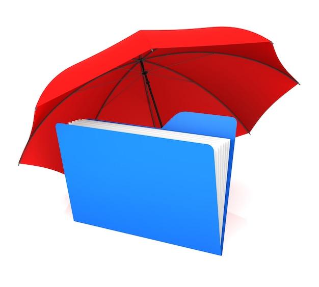 Ordner und roter regenschirm. 3d-rendering. sicherheitskonzept.