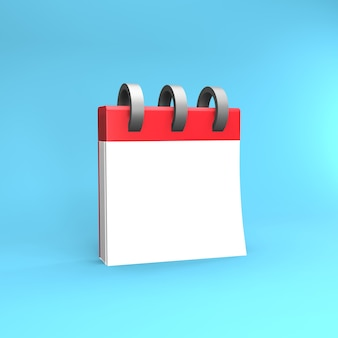 Organisator kalender rot 3d-darstellung. 3d-kalendersymbol. 3d-rendering-darstellung des kalenders
