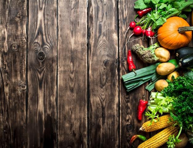 Organisches gemüse. verschiedene rohe gemüse. auf hölzernem hintergrund