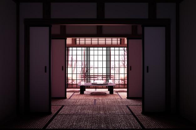 Original design - innenraum mit fensteransicht sakura-baum im japanischen stil. 3d-rendering