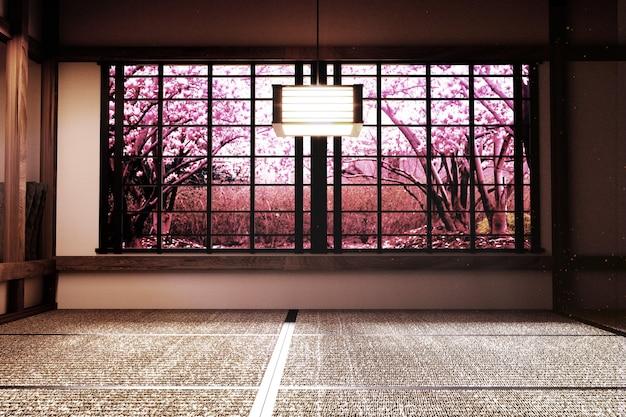 Original design - innenraum mit fensteransicht sakura-baum im japanischen zen-stil.