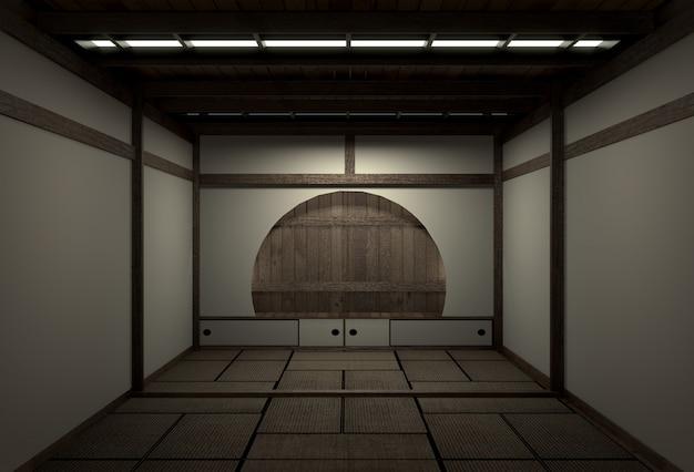 Original zimmer im japanischen stil, showa-ära, design mit den besten japanischen raumdesignern. 3d-rendering