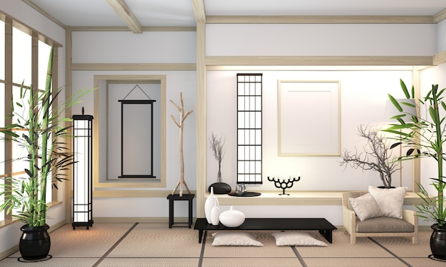 Orininal hölzerner rauminnenraum der modernen zenmischung mit tatamimatte und minimaler japanischer art der hölzernen wand. 3d-rendering