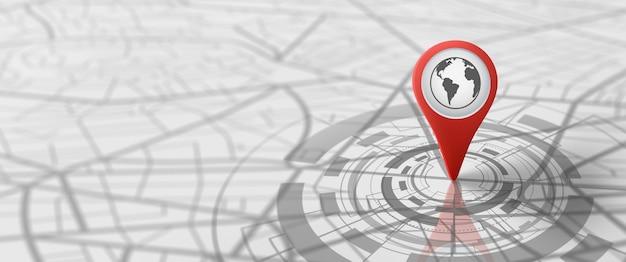 Ort der karte und der markierungsmarkierungen logistische geographie transport reisen und navigation gps-konzept
