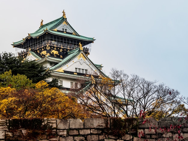 Osaka-schloss unter den roten bäumen im herbst