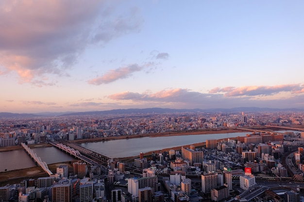 Osaka, stadt in japan, luftaufnahme vom umeda sky building.