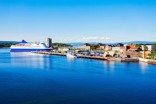 Osloer hafen oder hafenluftpanoramablick, norwegen.