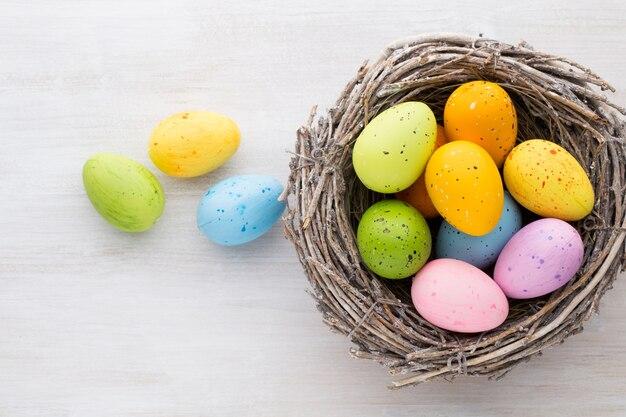 Oster- und frühlingsdekoration, kätzchen und eier.