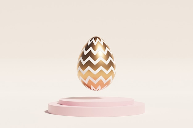 Osterei verziert mit gold schwebt auf rosa podium