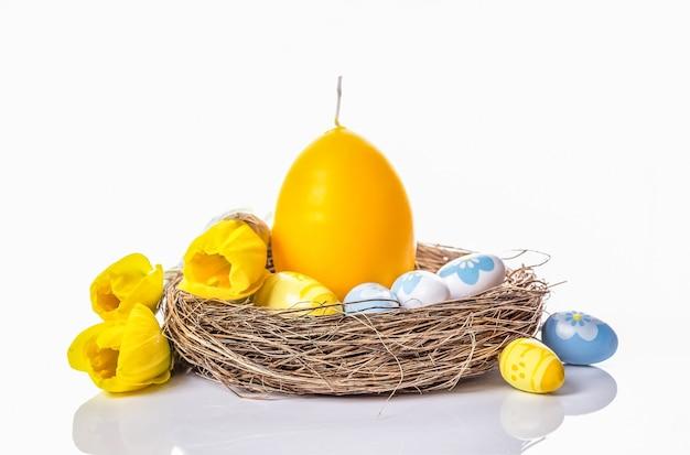 Ostereier, eierkerze im nest und gelbe narzissen an einer weißen wand